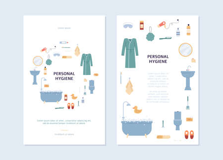 Personal hygiene cards or posters for social media templates set with icons of cosmetic body care products and bath accessories, flat vector illustration.