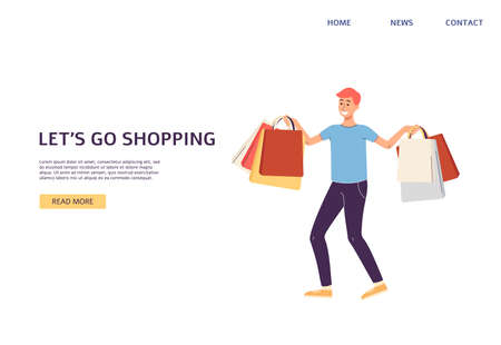 Website banner template inviting to shopping with buyer man cartoon character, flat vector illustration. Landing web page mockup for sale and shopping events.