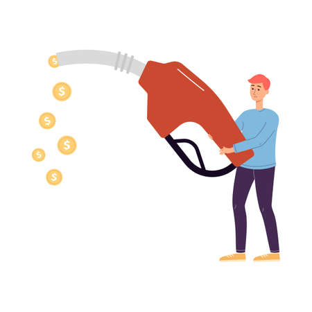 Tiny man holding refueling gun with dropping out golden coins, flat vector illustration isolated on white background. Fuel economy and money saving on car maintenance.