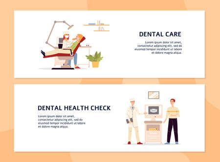 Medical banners with scenes of treatment and examination at dentist or orthodontist. Dental care, check and health. Clinic with equipment, doctors and patients. Vector illustration Stock Illustratie