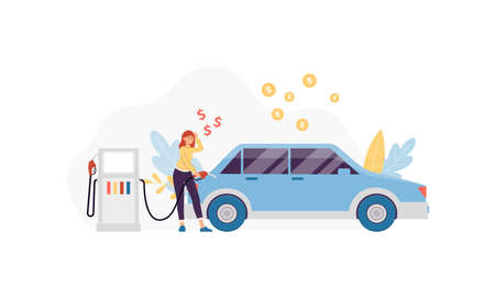Woman fueling car on gasoline station surrounded with symbols of money, flat vector illustration isolated on white background. Fuel costs economy and money savings.