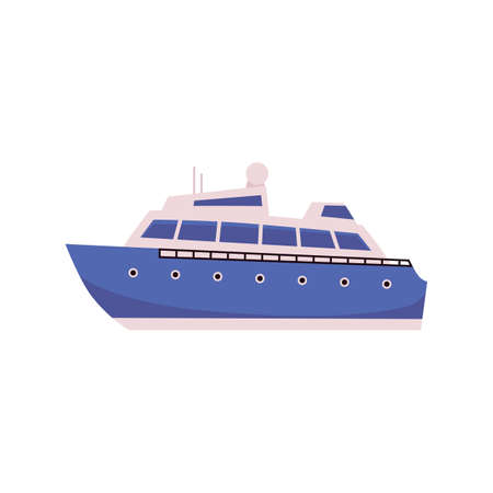 Nautical cruise tourist liner cartoon blue icon, flat vector illustration isolated on white background. Sea vessel or voyage passenger ship for round marine trip.