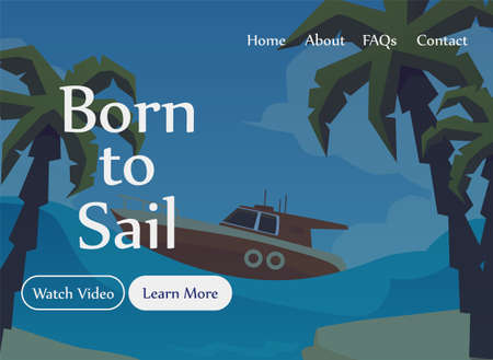 Maritime school or nautical courses advertising website template with silhouette of ship on sea, flat vector illustration on blue background. Seafaring and navigation.