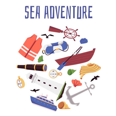 Sea adventure banner or promotion poster with various nautical signs and symbols of sea trip cruise, flat vector illustration isolated on white background. Ilustração