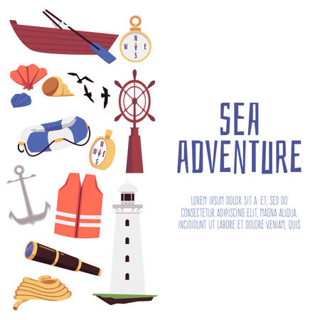 Sea adventure banner or poster for social media square background, flat vector illustration on white. Nautical cruise advertising banner with various marine symbols.