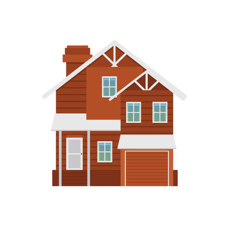 Exterior of two-storey cottage with a garage. Suburban residential house for buy, sale or rent. Flat cartoon vector illustration isolated on a white background.