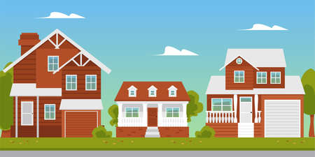 Suburban summer landscape with beautiful residential buildings or brick country cottages, flat vector illustration. Modern countryside or suburb dormitory street. Vetores
