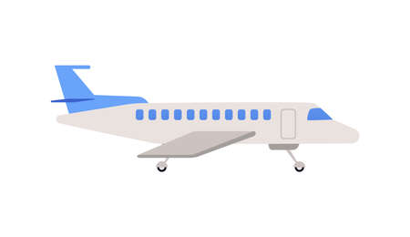 Passenger airplane or airbus cartoon icon, flat vector illustration isolated on white background. Aircraft transport and traveling or tourism sign or symbol.