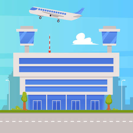 Air terminal building with two observation control towers, flat vector illustration. Architecture background with airport building and runway strip in front.
