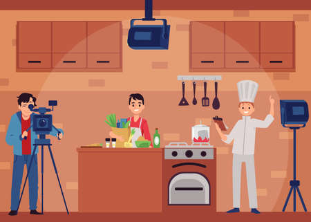Shooting of culinary TV show with cartoon characters of chef cook and cameraman in film studio, flat vector illustration. Cooking TV show interior background.