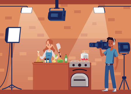 Filming of culinary show or blog scene with woman presenter and cameraman, flat vector illustration. Cooking show shooting in equipped kitchen interior.