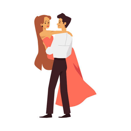 Young guy hold on hands and hugs a beautiful girl. Romantic couple in love or actors playing a role on shooting of a cinema. Flat cartoon isolated vector illustration