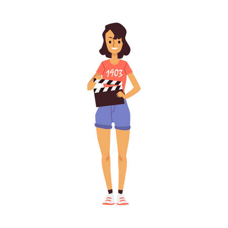 Professional cinema production. Assistant director with a clapper on shooting scene of movie. Flat cartoon isolated vector illustration.