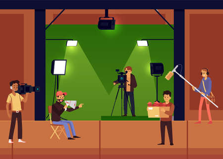 Studio film or series shooting scene with cartoon characters actors and cameraman, flat vector illustration. Filming of TV show or movie in equipped film studio.