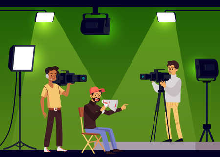 Film shooting with director and cameramen, flat vector illustration. Cinema industry scene with cartoon characters of film crew in studio filming a movie.