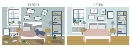 Before versus after bedroom comparison horizontal picture. Transformation from messy and dirty to clean and tidy room, flat cartoon vector illustration