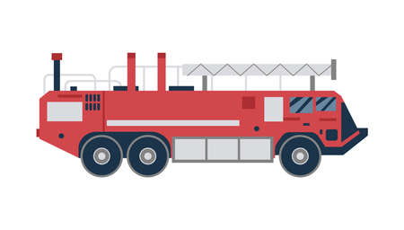 Vector red fire truck. Vehicle for emergency rescue. Fire fighting transportation. Flat illustration isolated on a white background.