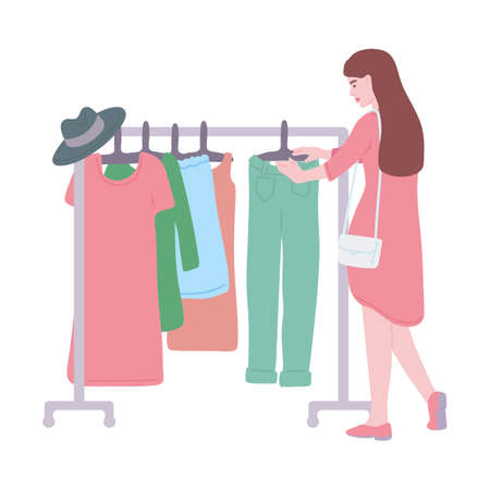 Beautiful girl at a swap party, flea market or old things sale. Clothes donation. Concept of eco lifestyle. Flat vector illustration isolated on a white background.