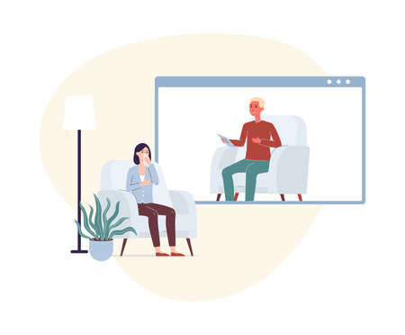 Woman on psychologist online session telling psychotherapist about her mental problems through a video call. Psychologist online consultation, flat vector illustration.