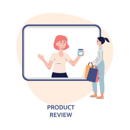 Girl watches online video tutorial shopping overview. Female vlogger on tv screen doing review product. Content for internet channel. Flat vector isolated illustration