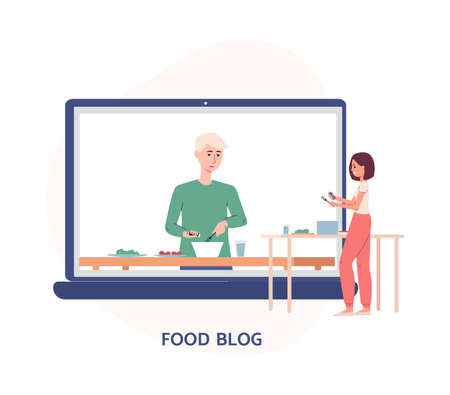 A male blogger cooks food on video for Internet content. Girl follower looks at the player screen with video tutorial with cooking recipes. Vector flat illustration. Иллюстрация