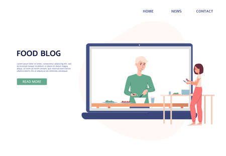 Food blog website interface layout with blogger and his followers cartoon characters, flat vector illustration. Online internet learning of culinary and food cooking. Иллюстрация