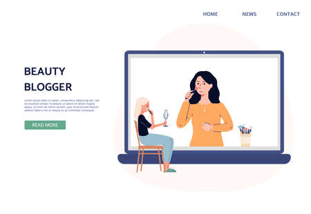 Website banner for beauty blogger, flat vector illustration. A Landing page with woman gets online makeup and facial skincare tips from a fashionable beauty blogger.