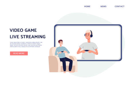 Guy follower looking at online video tutorial. Blog or vlog about computer game stream. Content for internet or channel. Vector flat illustration. Landing page template.