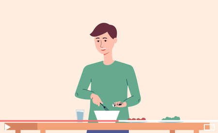 A young guy cooks food online. Player screen with video tutorial with cooking recipes for Internet content. Vector flat illustration.