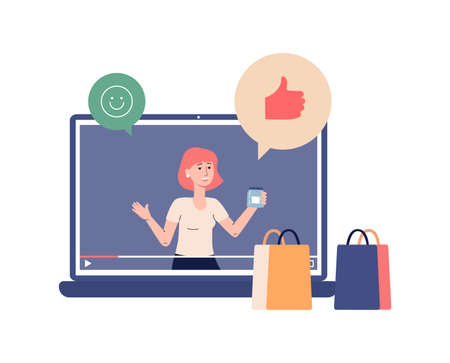 Video tutorials for internet content. Female vlogger doing shopping review on laptop screen. Video player with records online tutorial, likes and smiley face. Vector flat illustration Vetores