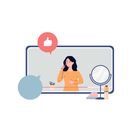 Woman blogger or makeup artist recording video tutorial for social networks, flat vector illustration isolated on white background. Internet marketing and blogging. Иллюстрация