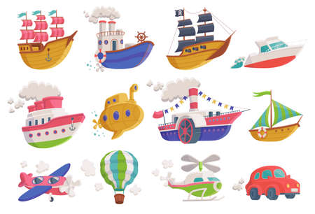 Set of cartoon icons of sea, air and land transport. Kids colorful toys of ships and boats, submarine, plane and helicopter, car and air balloon. Flat vector isolated illustrations