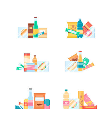 Snack pack set for retail vending machine. Fast food and beverages bottle, chips and crackers, sandwich and chocolate. Flat cartoon vector illustration isolated on white background Vektoros illusztráció