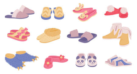 Set of male, female and children cozy domestic slippers. Home comfortable footwear for the whole family. Pairs textile shoes. Flat cartoon vector isolated illustration.