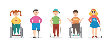 Cartoon injured children with crutches and bandages, flat vector illustration isolated on white background. Disabled wounded boys and girls cartoon characters.