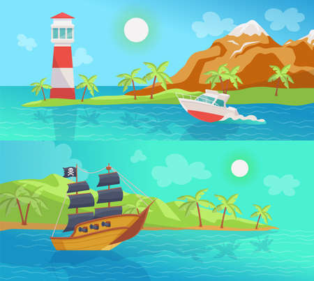 Set of two marine banners with sea boats at summer landscape backgrounds, flat cartoon vector illustration. Pirates ship and boat for sea travel and trips.