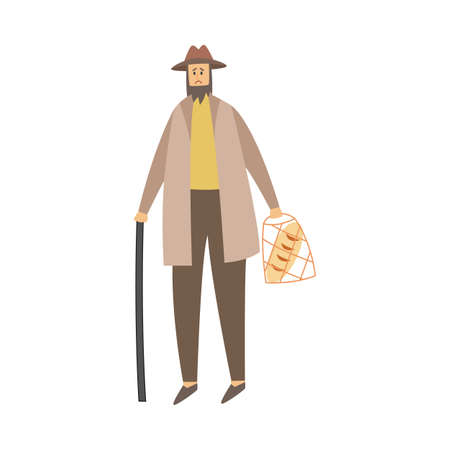 Cartoon character of a poor sad man carrying a bag of bread. A beggar homeless person in old clothes needs help. Flat vector illustration isolated on a white background