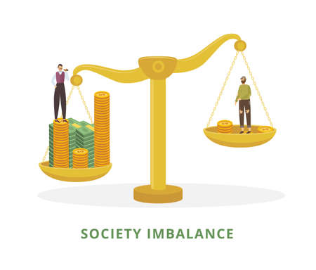 Society imbalance metaphor with poor and rich men standing on vintage scales, flat vector illustration isolated on white background. Social financial stratification.