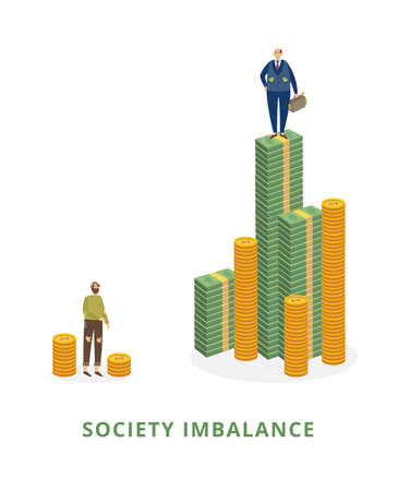 Society imbalance concept with poor and rich men standing on stacks of coins, flat vector illustration isolated on white background. Social inequality and stratification.