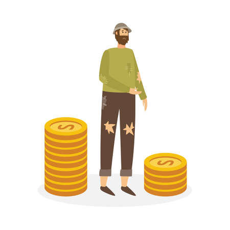 Poor sad man stands next to stacks of gold coins. Homeless person begging for charity or donation. Class discrimination, monetary inequality, society imbalance. Vector illustration