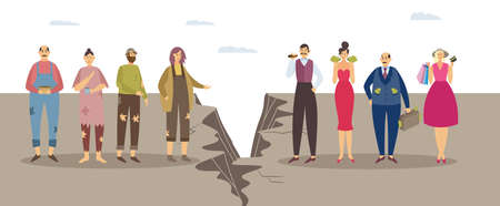 Concept of imbalance, class discrimination and monetary inequality in human society. Gap between unlucky sad poor and happy successful rich people. Vector flat isolated illustration