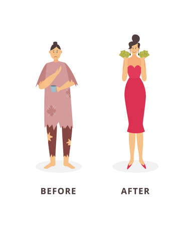 Rich and poor women - before and after financial success concept poster with cartoon homeless person and wealthy lady. Isolated vector illustration. Illustration