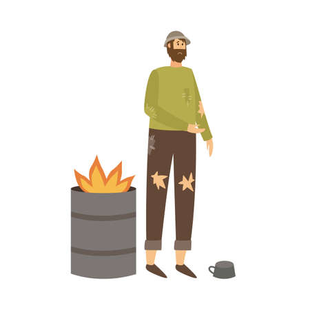 Poor man in torn clothes standing near burning garbage in barrel and begging money. A homeless dirty tramp needs help. Flat cartoon isolated vector illustration