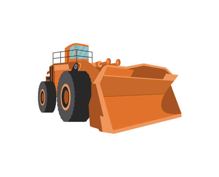 Bulldozer truck with scraper at the front for snow plow works, flat vector illustration isolated on white background. Snowblower or snowplow tractor icon.