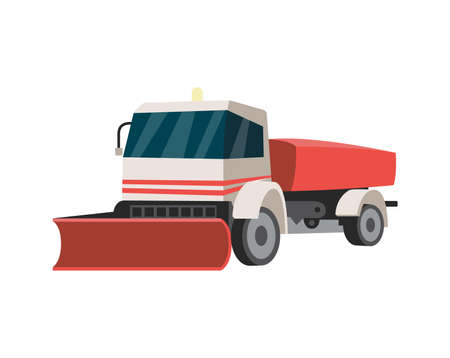 Truck with open trailer and scraper at the front for clearing snow from the streets, flat vector illustration isolated on white background. Snowblower or snowplow car.