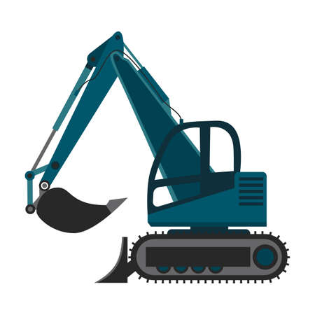 Excavator or bulldozer machine with moving backhoe attached to a boom, flat vector illustration isolated on white background. Ground digging and construction machinery.