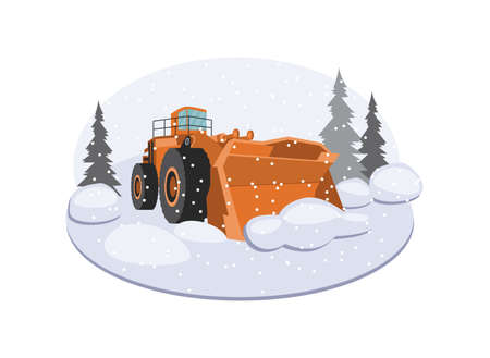Snow plow truck in frame of snowy winter landscape, flat vector illustration isolated on white background. Snowblower or snowplow vehicle for clearing snow from streets.