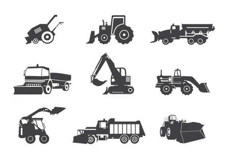 Set of isolated icons of heavy equipment for cleaning the roads from snow in winter season. Snow plows for highway works. Vector illustrations on a white background.