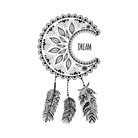 Tribal dreamcatcher from feathers with ethnic ornament. Black and white dream hunter handmade. Traditional mascot of injun. Vector illustration isolated on white background.