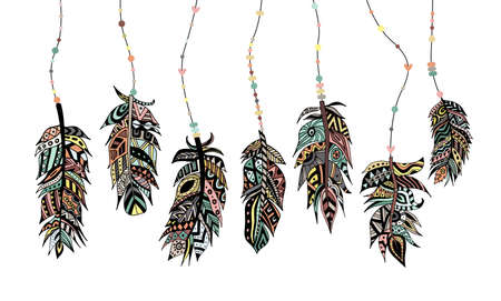 A set of beautiful colored injun tribal feathers with beads and ethnic ornament. Bird feathers for native american magical amulets. Vector isolated illustrations.